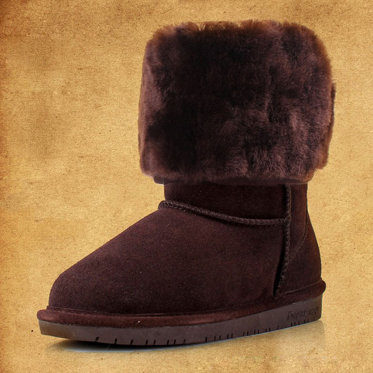 Genuine leather wool inside Fur winter snow boots women leather shoes woman boot flat heel(China (Mainland))