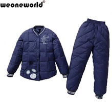 WEONEWORLD Children Clothing Sets 2016 New White Duck Down Padded Jacket+Pants Girls And Boys Winter Kids Clothes Free Shipping(China (Mainland))