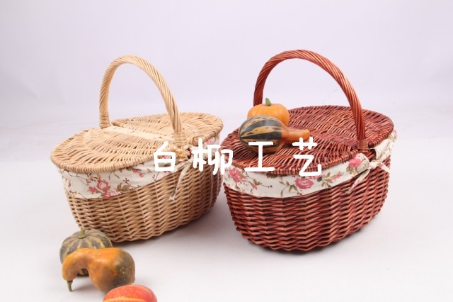 Wicker Baskets With Handles And Lid : Free shipping rattan willow picnic basket with handle lid