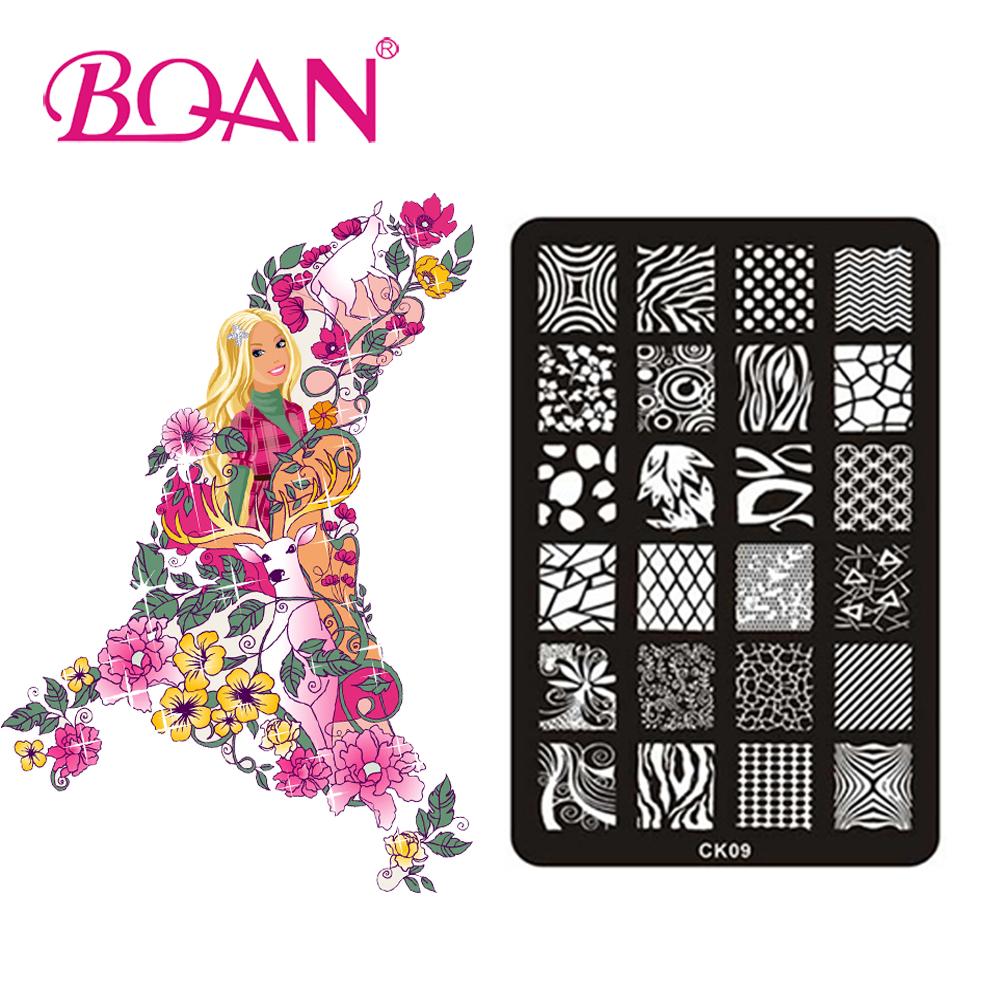 BQAN 10pcs/lot Irregular Line Images Nail Art Stamping Plates CK09(China (Mainland))
