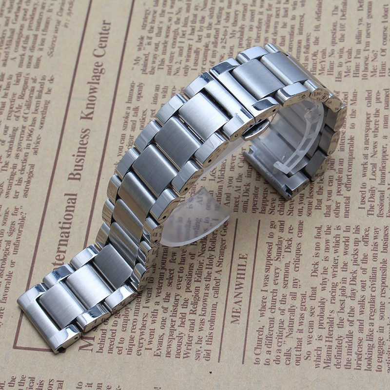 2016 Новый Нержавеющей стали Высокого качества Серебряный браслет браслеты 24 мм 26 мм 28 мм большой размер ремешок для бренда часы мужчины полированной