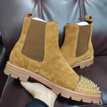 Mode Slip Op laarzen cl andgz orange Lederen Spikes Ronde Neus Rode onderkant Voor Man Schoenen Hoge Top casual Loafers platte Schoenen(China)