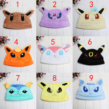 9 styles Eevee Umbreon Sylveon Snorlax New Pokemon Soft Plush Beanie Costume Hat Cap free size for adult(China (Mainland))