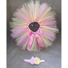 2 Piece Lemonade Tutu Skirt  Pink And Yellow Girl's Tutu Skirt And Headband Baby Accessories Headband Cute Tutu Set,  PT213(China (Mainland))