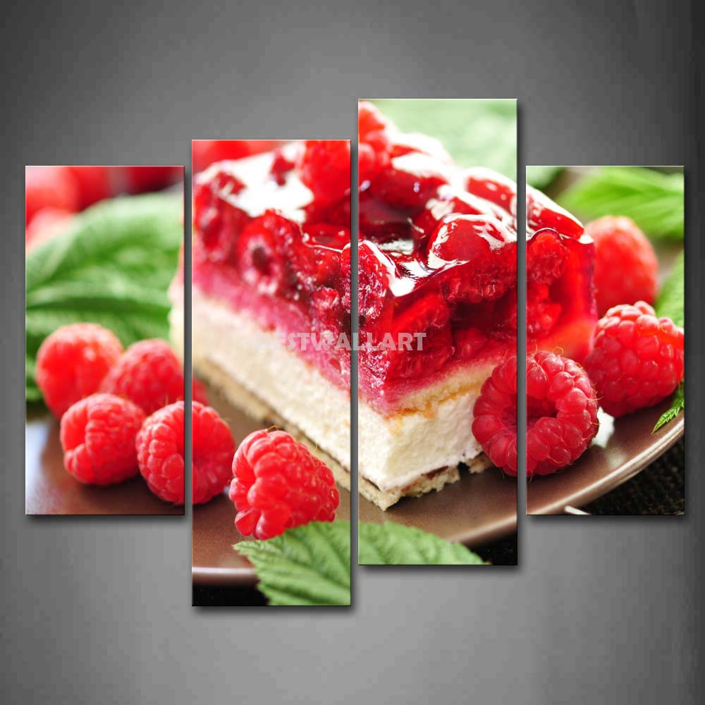 Colourful Fruit Cake: Colourful Cake With Fruit And Leaves 4 Piece Painting On
