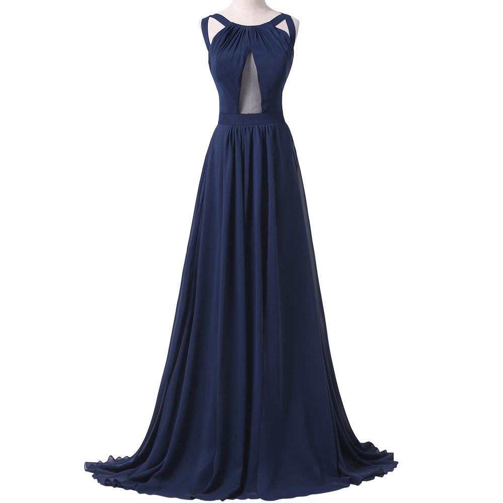 Women summer floor length navy blue dress slit ope back for Navy evening dresses for weddings