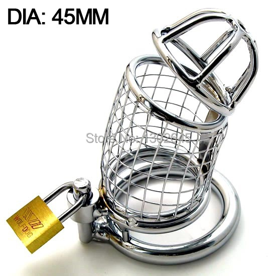 45MM Mens Stainless Steel Chastity Device Metal Cock Cage Penis Bondage Harness Ball Stretcher Male Sex Toys For Adult<br><br>Aliexpress