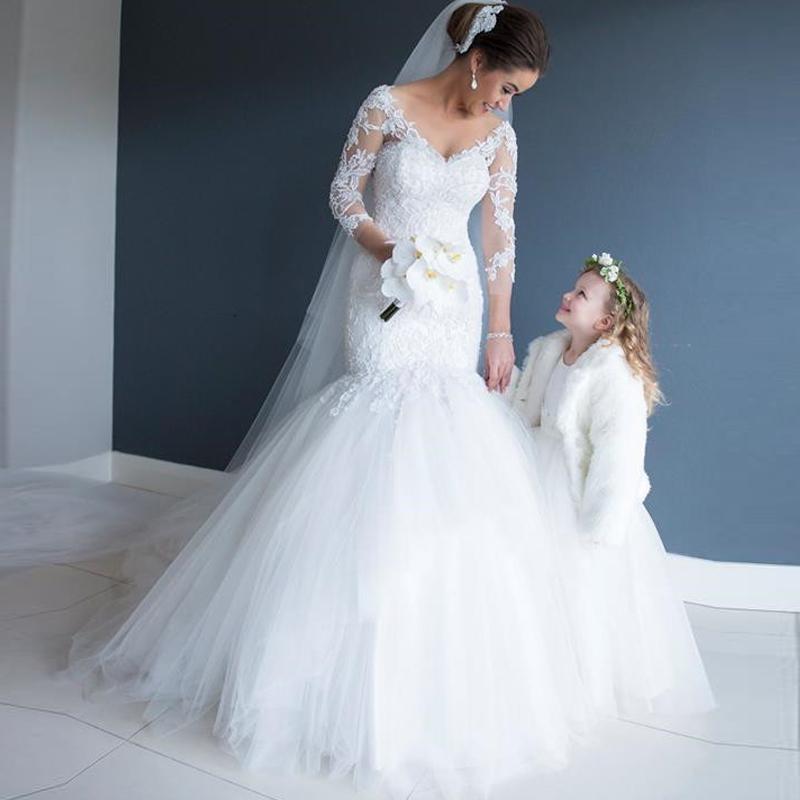 Aliexpress.com : Buy White Wedding Dresses 3/4 Sleeves Mermaid Wedding ...