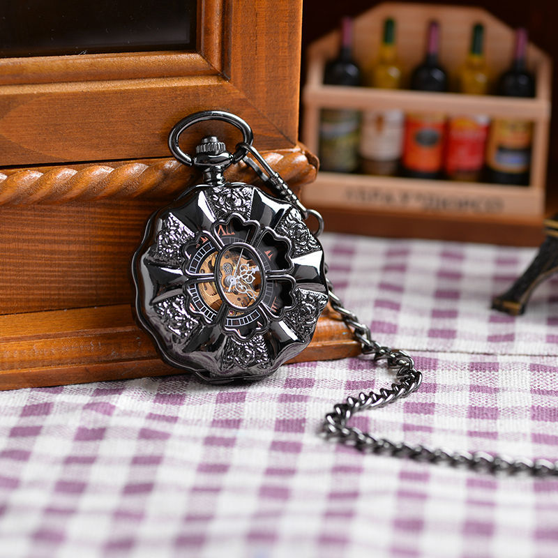Classical Lead Black Style Men's Magnifying Glass Flower Mechanical Pocket Watch With Chain XMAS Gift Cool Luxury Men Watch(China (Mainland))