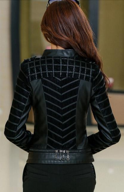 2015 Короткий design small leather motorcycle cloТонкийg Женщины's plus Размер ...