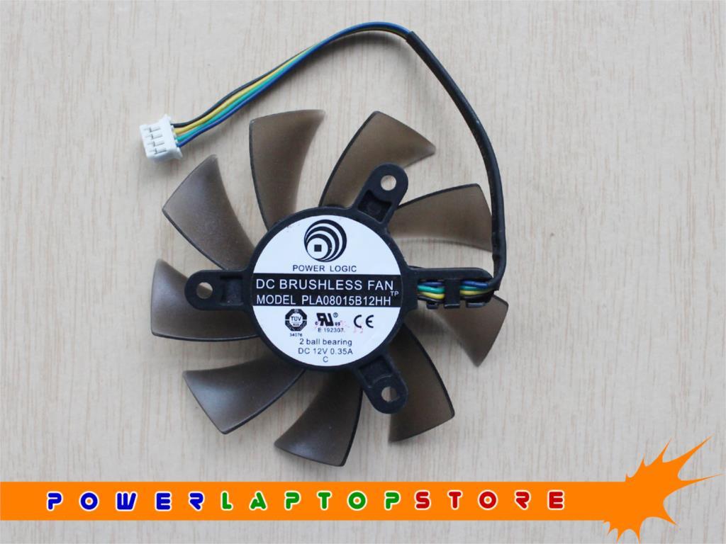 New POWER LOGIC PLA08015B12HH 2 ball bearing DC12V 0.35A 4PIN 75mm 42mm Graphics Video Card Cooler VGA Fan [GPU Fan](China (Mainland))