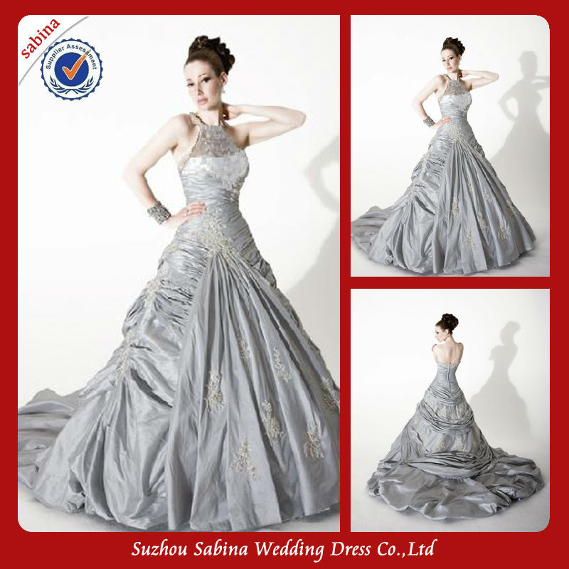 Wb00121 elegant halter see through zipper ball gown silver for Silver ball gown wedding dresses