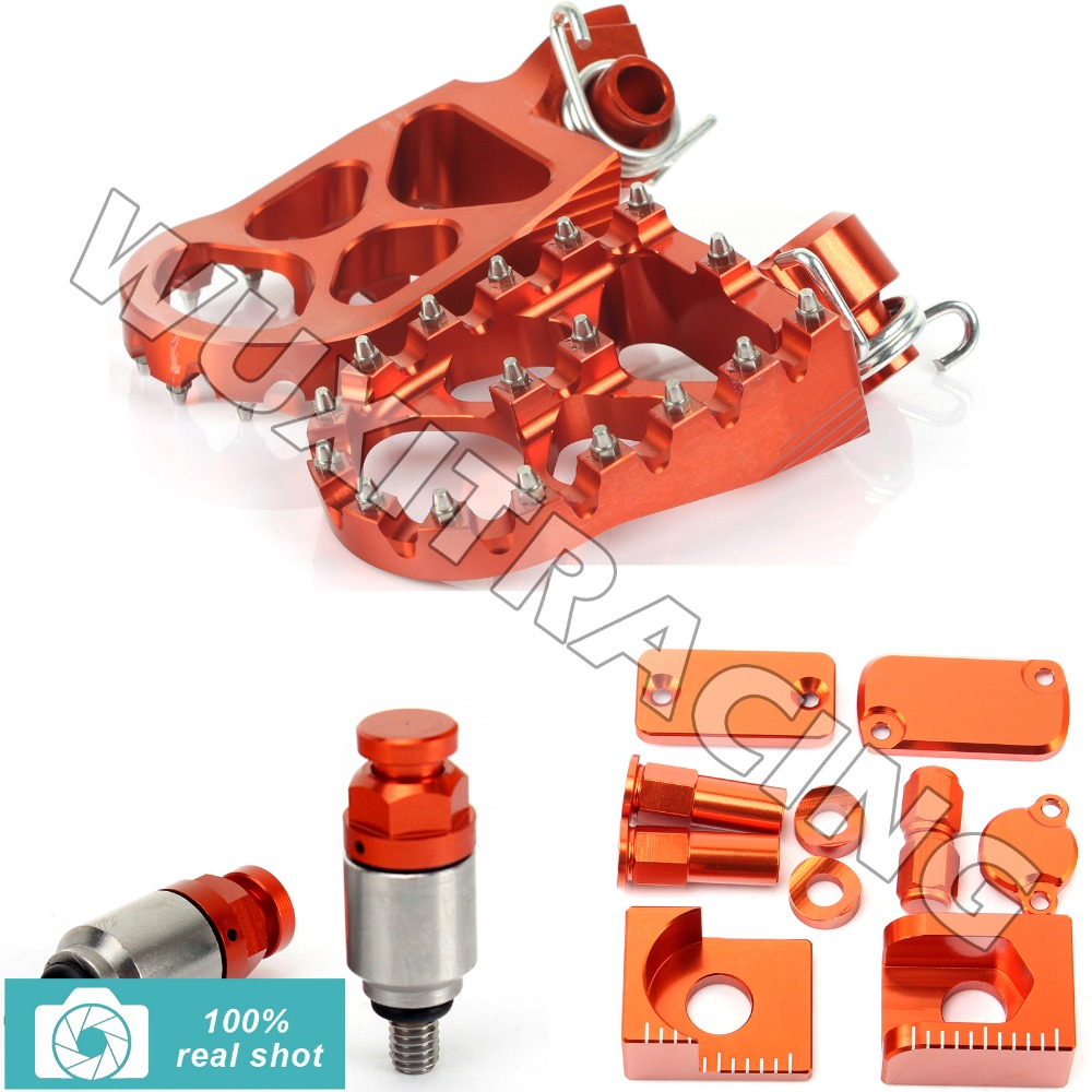 ORANGE New CNC Footpegs Bling Kits M4X0.7 Fork Air Relief Bleeder Valves fit for KTM SX 65 13 2013(China (Mainland))