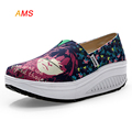 New Graffiti Girls Face Canvas Shoes For Women Sneakers Platform Slip-On Running Shoes For Women Zapatos Mujer Wedge Sneakers