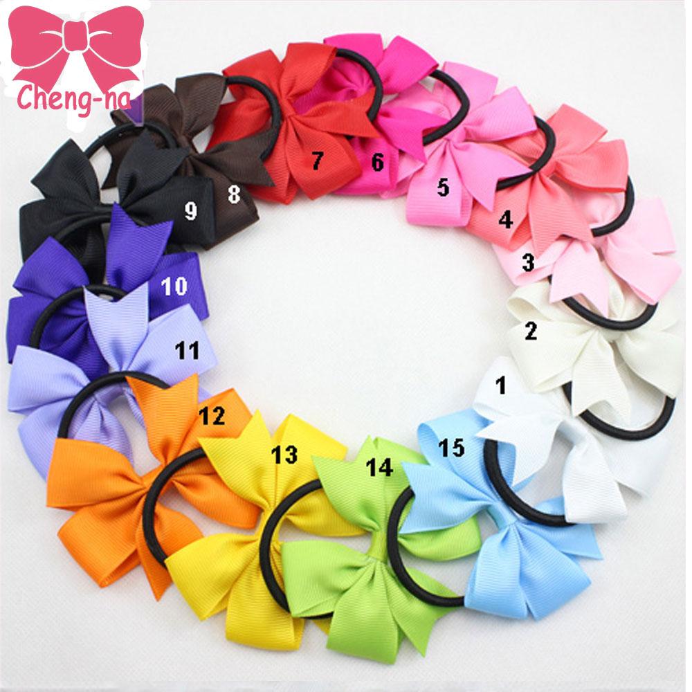 "3"" Baby Girl Solid Ribbon Hairbow Handmade Pinwheel Bows With Elastic Band Windmill Hair Accessories15pcs/lot 15COLORS()"