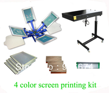 FAST and FREE shipping 4 color 2 station silk font b screen b font printing kit