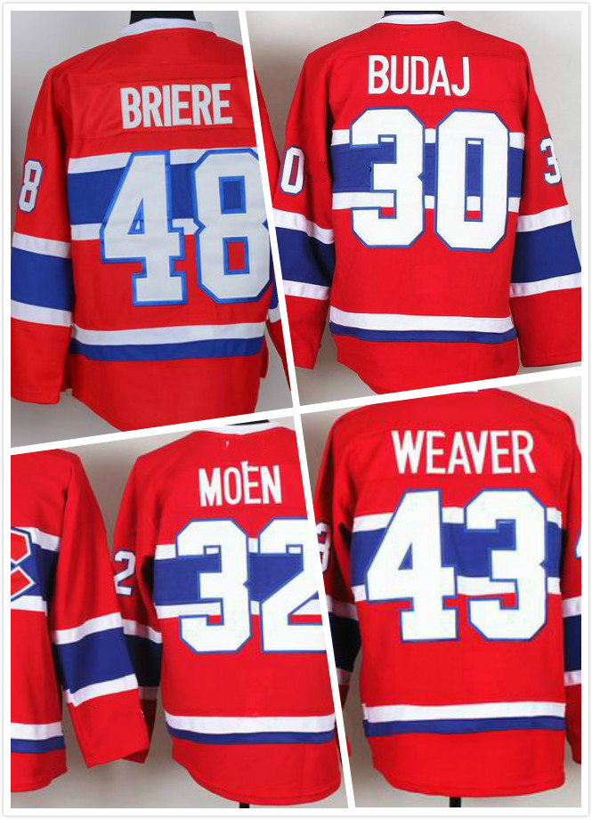 Cheap Montreal Canadiens 43 Mike Weaver Jersey 48 Daniel Briere Jersey 32 Travis MOEN Jersey 30 Peter Budaj Red Hockey Jersey(China (Mainland))