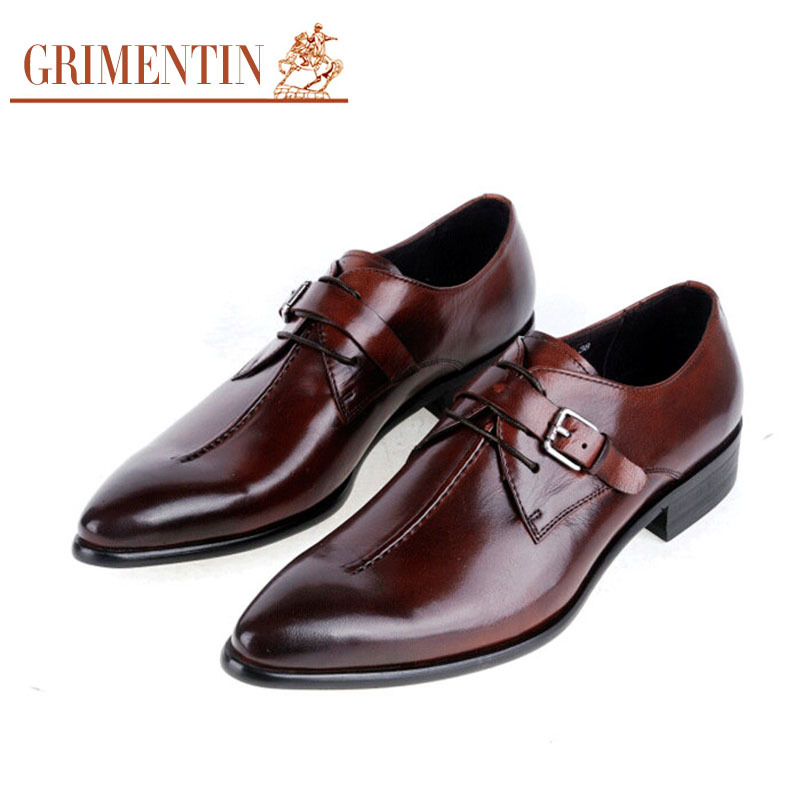 GRIMENTIN 2015 summer fashion casual luxury Dress Men Shoes Genuine Leather buckle design basic flats business size:6-10 - store