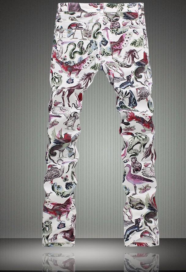 Fashion Luxury Animal Print Slim Jeans Fashion Skinny Trousers