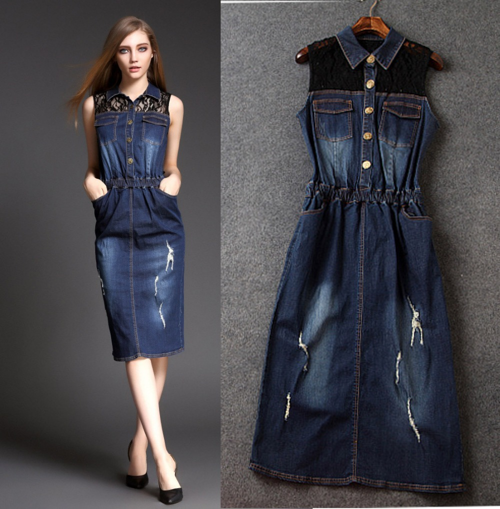 Beautiful  Denim Dress  VNeck Zip Front Sleeveless For Women In Medium Wash