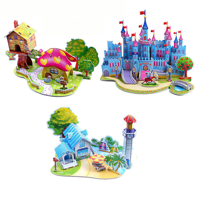 Brinquedo Education Jigsaw Puzzles For Kids Children Toys Developmental 3D DIY Puzzle Lovely Paper Castles Houses TY0002(China (Mainland))