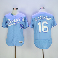 2016 new Men's cheap 16 Bo Jackson color White Blue Gray Throwback Baseball Jerseys(China (Mainland))