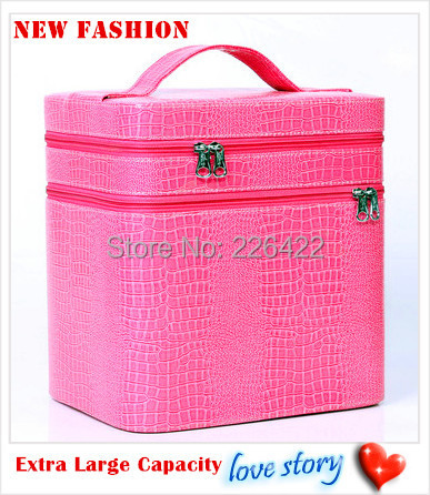 2015 New fashion extra large capacity make up bag crocodile pattern cosmetic bag waterproof multifunctional beauty case<br><br>Aliexpress