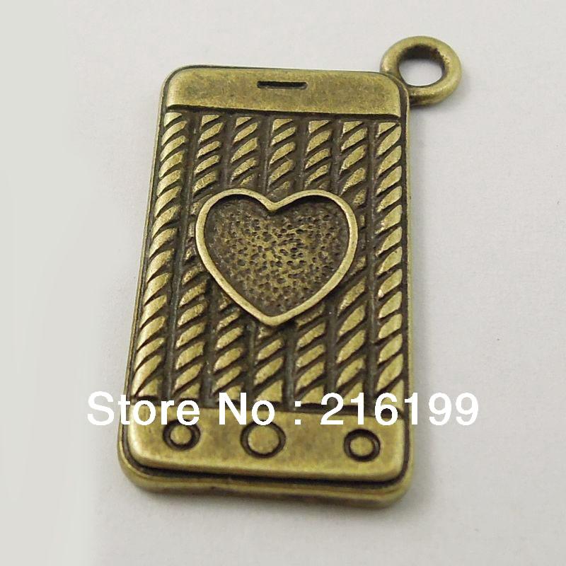 25MM Retro Style Bronze Tone Alloy Love Heart Cell Phone Charm Pendant 20pcs 37316 Free Shipping(China (Mainland))