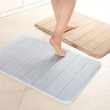 Memory Foam Bath Mats Bathroom Horizontal Stripes Rug Non-slip Bath Mats coral Fleece Mat Doormat Carpet cotton Super Absorbent(China (Mainland))