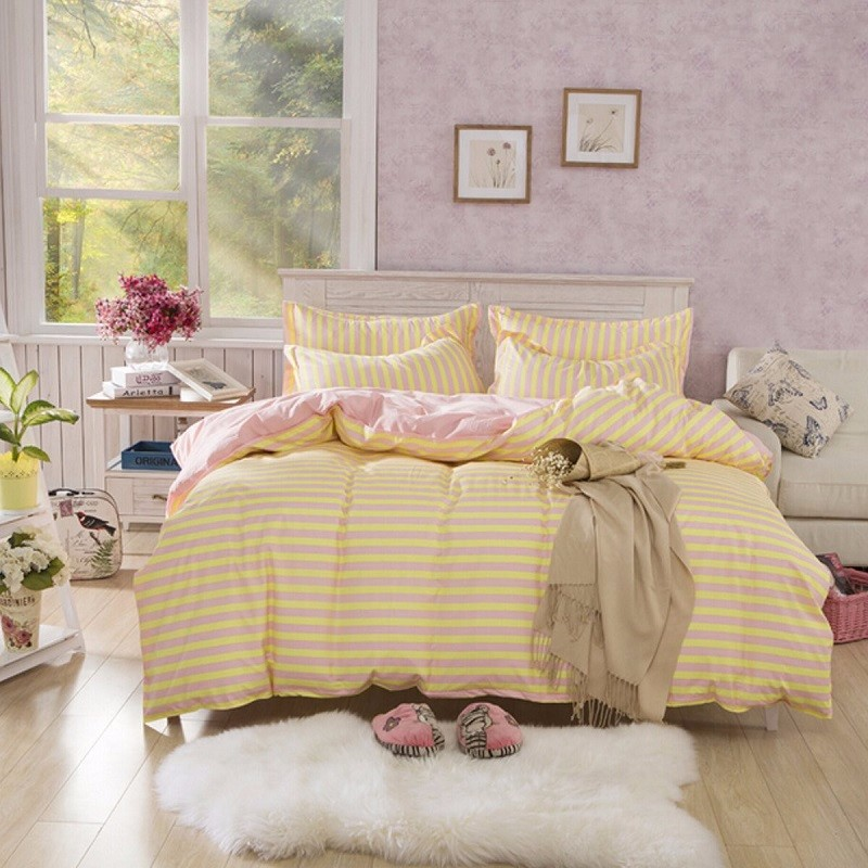 Comfor Bedding Sets Korean Yellow With Pink Stripe Printed Quilt Duvet Cover Single Double King Size Pillowcases Bedsheet Set