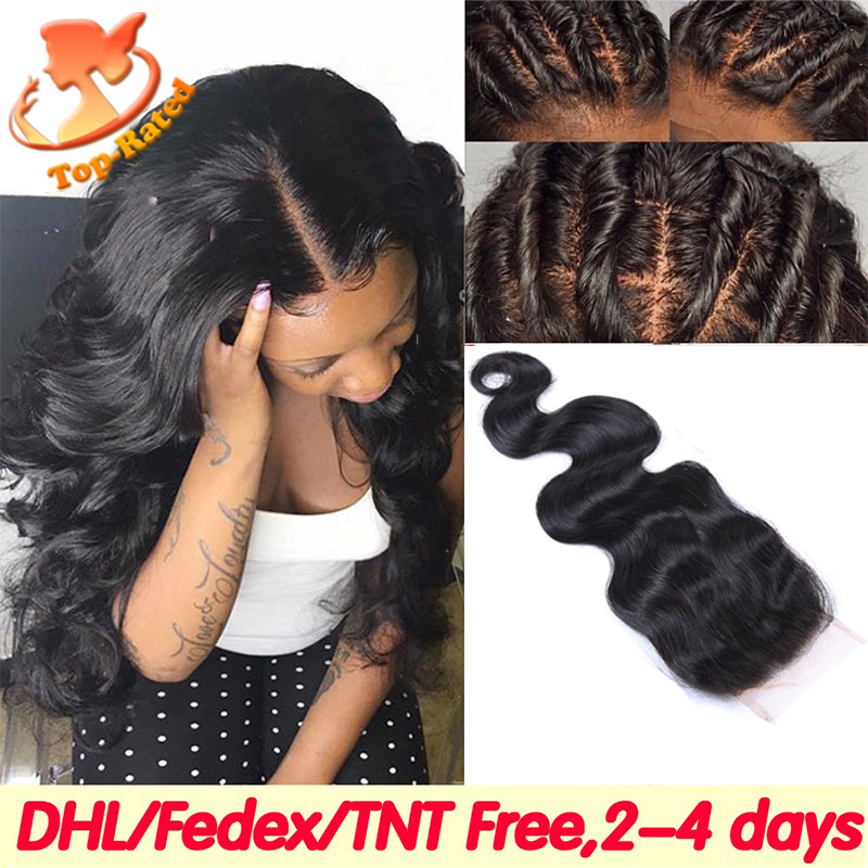 Best Brazilian Silk Base Closure Body Wave Human Hair Silk Top Lace Closures Free Middle 3 Part Silk Base Closure With Baby Hair(China (Mainland))