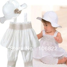Cute Girls 3 Pieces Baby Girls Kids Top+Pants+Hat Set Ruffled Outfits Costume Clothes