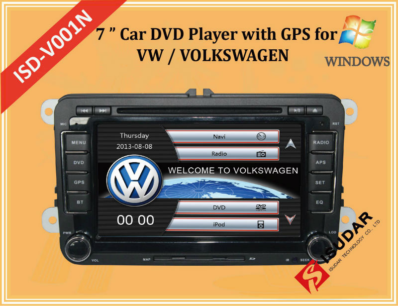 Two Din 7 Inch Car DVD Player For VW/Volkswagen/POLO/PASSAT/Golf/Skoda/Octavia With Wifi 3G Host Radio GPS Bt 1080P Ipod RDS Map(China (Mainland))