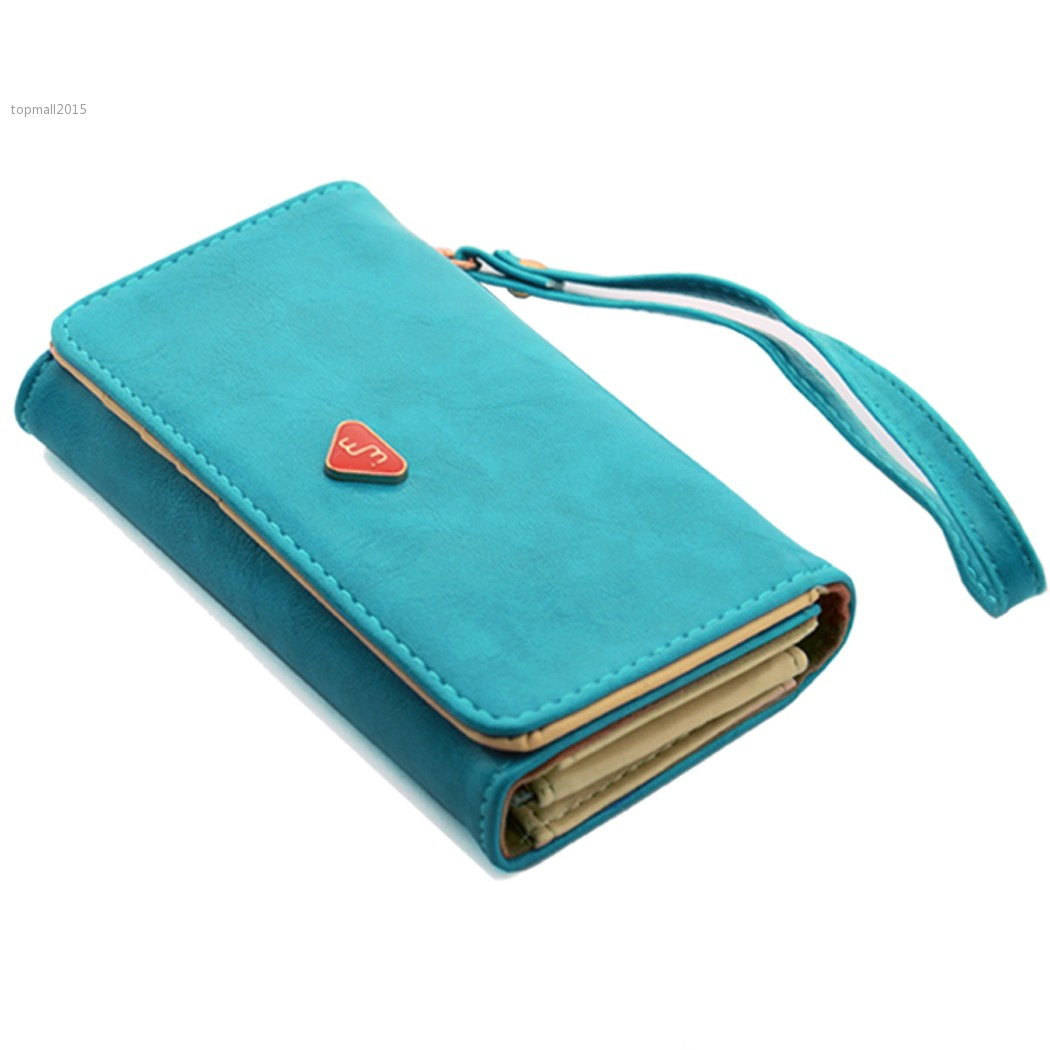 New Fashion Classic Candy Color Multifunction Women Wallet Lady Leather Purse Case Cover For Samsung Galaxy S2 S3 Iphone 4S 5(China (Mainland))