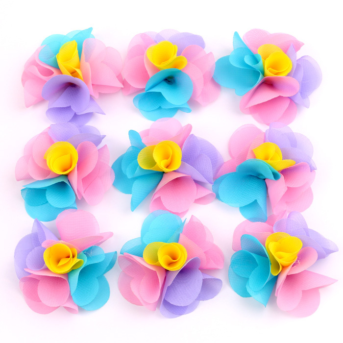 New Arrival Fabric Flowers For Headbands With Flat Back Chiffon Floral DIY Hair Accessories For Hair