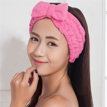 Fashion Headband Kawaii Celebrity Inspired Bow Beauty Makeup Bath Wash Sport Hairdo Towel Headwear Women Hairlace Bands Turban(China (Mainland))