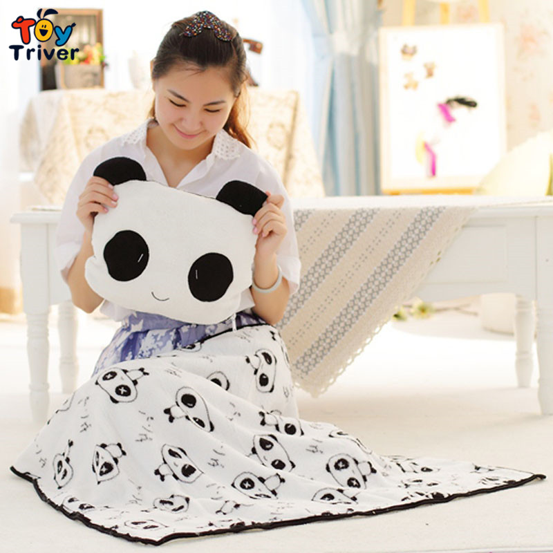 Quality plush panda coral fleece portable blanket pillow cushion stuffed toy baby kids girl gift free shipping Triver Toy(China (Mainland))