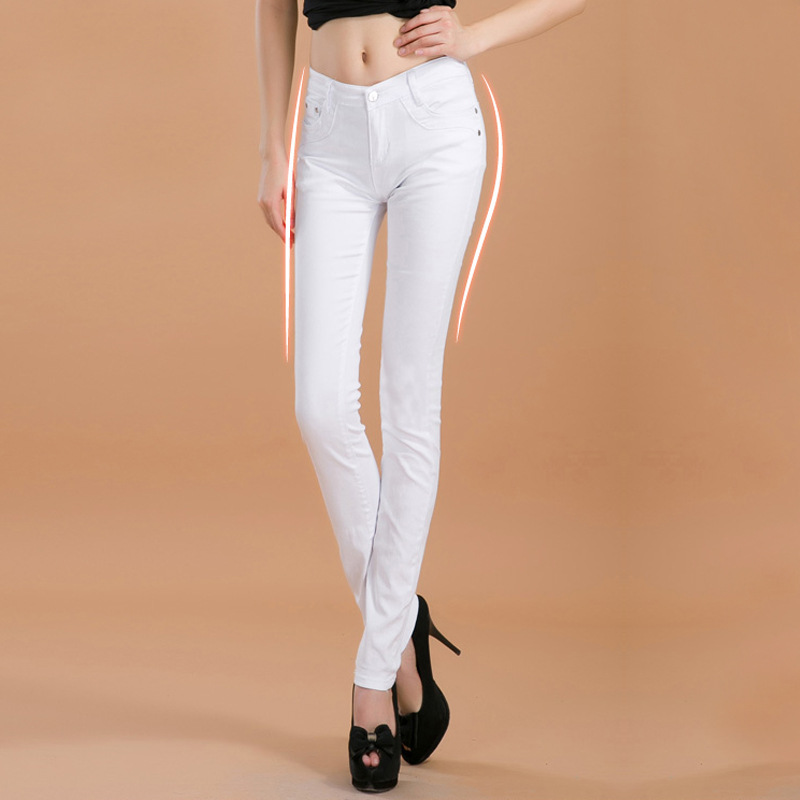 2016 new fashion boutique female Women's candy colored jeans / Woman skinny solid color stovepipe pencil jeans(China (Mainland))