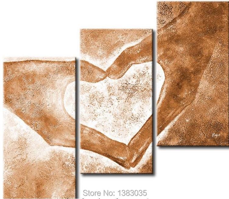 handgemalte h nde liebe herz moderne abstrakte lgem lde auf leinwand 3 st ck wandkunst bild. Black Bedroom Furniture Sets. Home Design Ideas