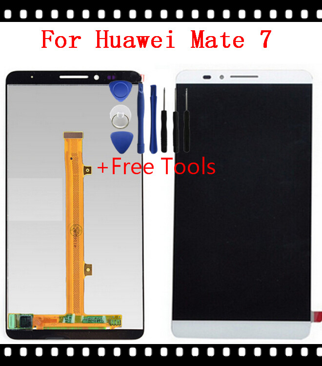 Free Shipping 100% Tested For Huawei Ascend Mate 7 LCD Display Touch Screen Digitizer Replacement - White
