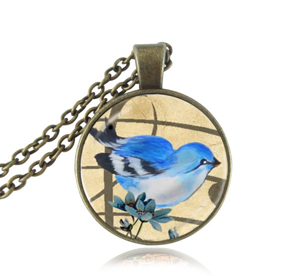 Cartoon blue bird necklace antique bronze chain necklaces animal jewelry glass dome pendant flower choker necklace creative gift(China (Mainland))
