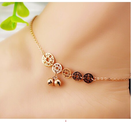Lucky coins bell anklet female fashion titanium steel 18K rose gold anklet multi-natal 1pc(China (Mainland))