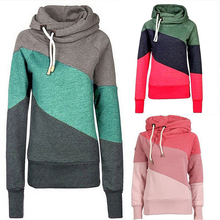 2016 Spring New Casual Fashion Slim Patchwork High Collar Long Sleeve Pocket Women Sportwear Hoodies Hooded Sweatshirts Pullover