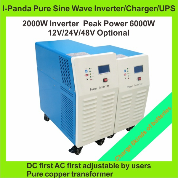 Hot Sell, 2000W Solar Power Inverter,Peak 6000W DC12V or DC24V or DC48V Pure Sine Wave Inverter for Off Grid System