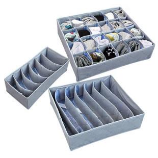 Bamboo Charcoal Sock Bras Shorts Storage Closet Organizer Box Bag Set(3pcs)(China (Mainland))