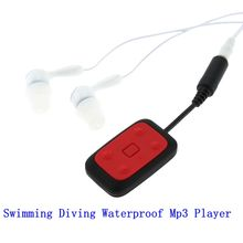 Digital 8GB Clip-on Waterproof IPX8 Mp3 Player FM Radio Swimming Diving Sports Stereo Sound with Earphone USB Charging Cable