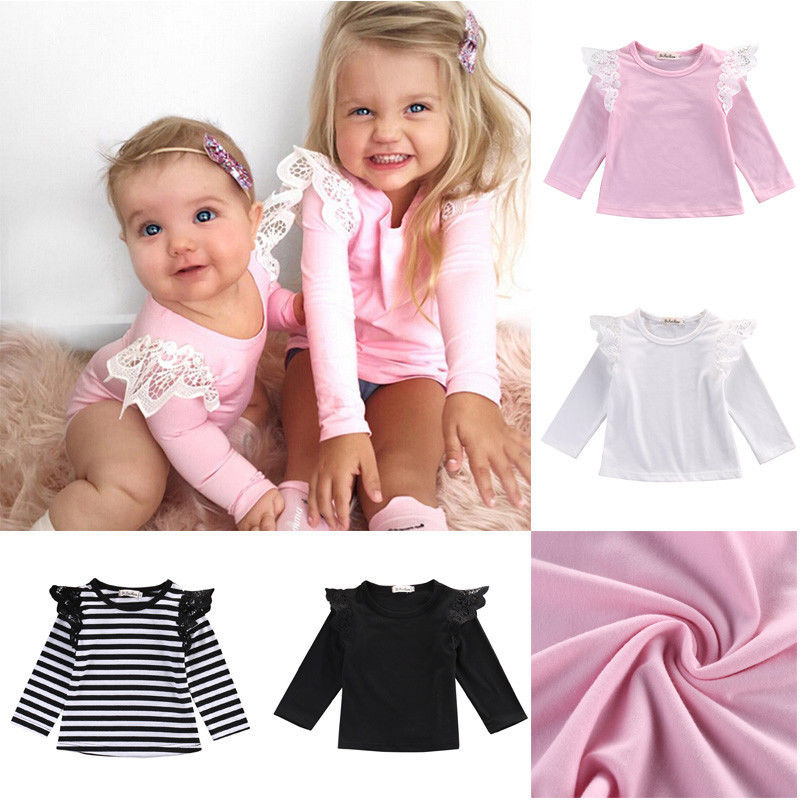 2017 Newborn Baby Girls Toddler Kids Clothes Long Sleeve shirts Tops Outfit Blouse