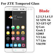Tempered Glass Film ZTE Blade Q Lux L2 L3 L4 L5 GF3 S2 S291 S6 X3 Q7 Geek 2 S2003 V2 V7 Lite V815W Screen Protector Case - West Store store