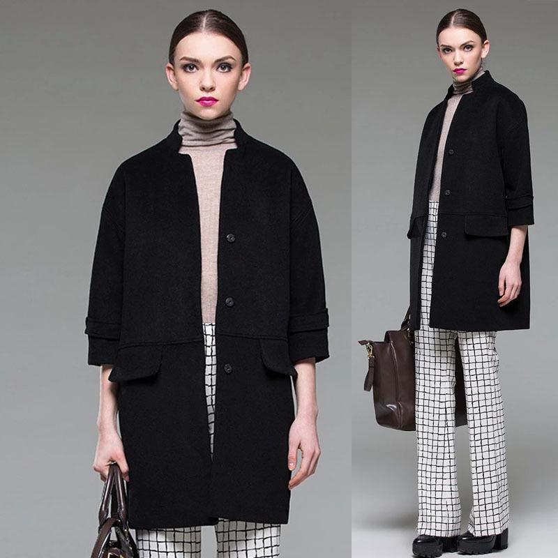 European Style Fall Winter Elegant Women's Black Loose Plus Size Long Woolen Coat , Female Fashion Autumn Wool Coats Woman - Jeanie Deng's store