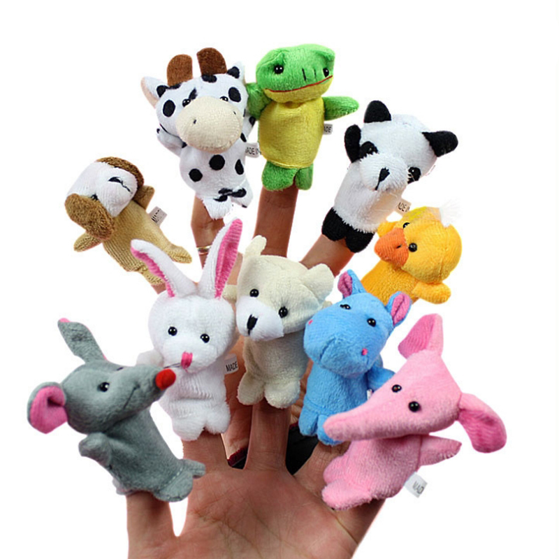 10pcs/lot Stuffed Dolls Finger Puppets Cartoon Animals Baby Favor Toys Dolls Kid Children Learning Educational Toy Gift WW171(China (Mainland))